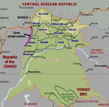 Map of DR Congo's Equateur Province with the Oubangi River highlighted where it divides Congo-Brazzaville from Congo-Kinshasa
