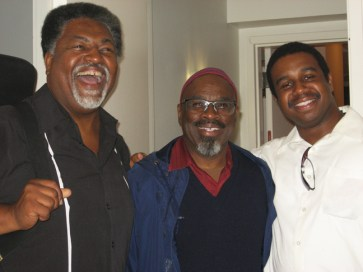 Kamau Seitu, center, with colleagues drummer Darryl Green and a trombonist - Photo: Wanda Sabir