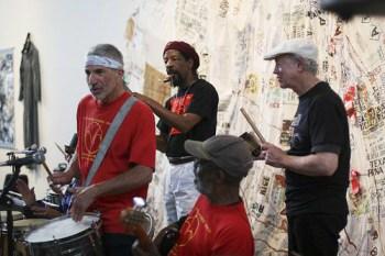 The Troublemakers Union – Adam Raskin, Akinyele Sadiq, Dartanyan Brown and Bill Crossman – performs at the San Francisco Neighborhood Arts Program's 40th Anniversary Bash on May 3, 2008.