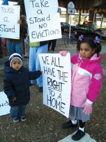 Considering New Orleans has lost 80,000 rental homes since Katrina and affordable housing is virtually impossible to find, demolition of Lafitte public housing is likely to make residents homeless. What did these little ones do to deserve that fate? - Photo: Darwin BondGraham