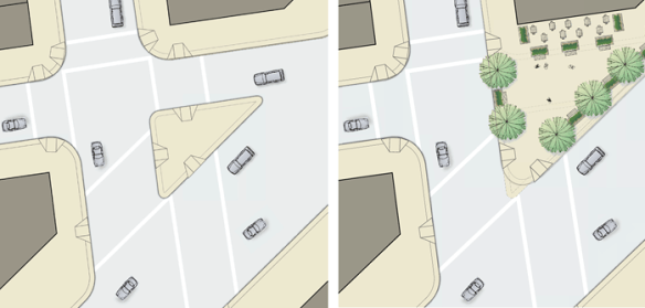Conversion of a corner slip lane into a public space