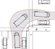 To 'accommodate' a vehicle turn