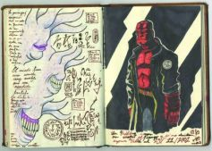 Notebook sketch of Hellboy: Page from Notebook 2
