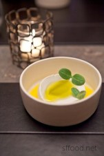 Coconut borage with olive oil and sprouts