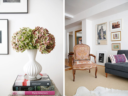 white vase with flowers in artist abigail doan's eclectic living room / sfgirlbybay