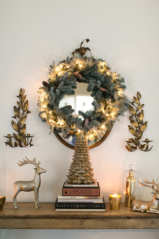 metallic gold christmas mantle styling / sfgirlbybay