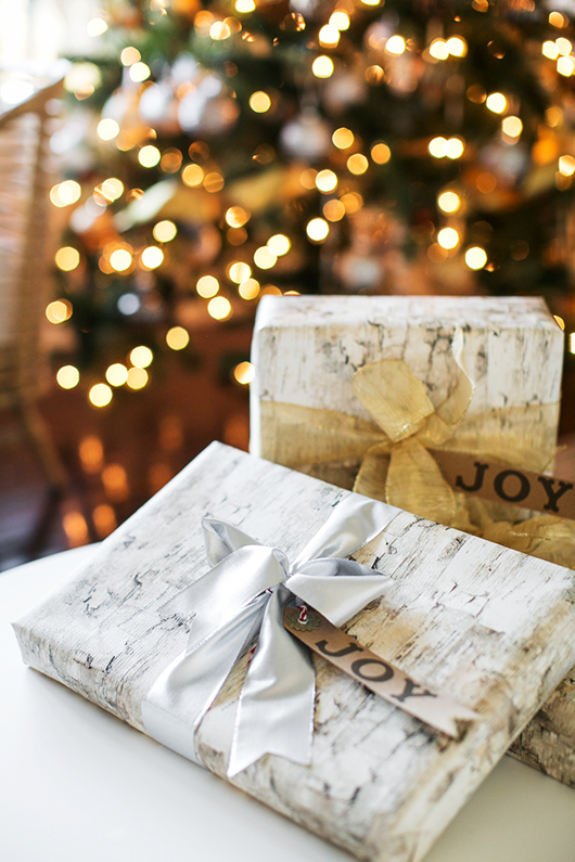 wood grain wrapping paper with metallic ribbons from pier 1 imports / sfgirlbybay