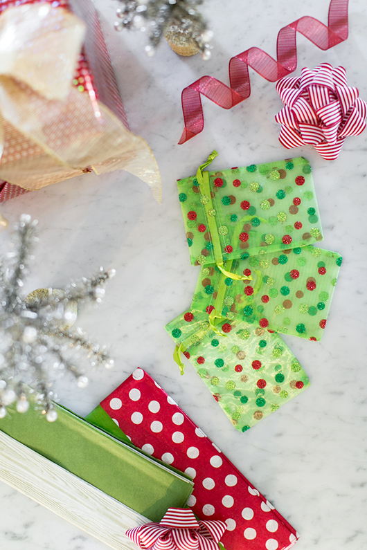 polka-dot gift bags and wrapping paper via pier 1 imports / sfgirlbybay