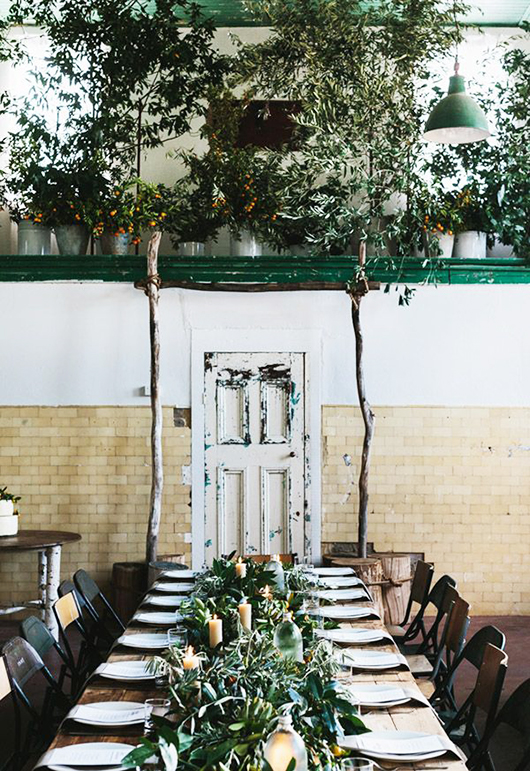 thanksgiving table with mismatched chairs and foliage / sfgirlbybay