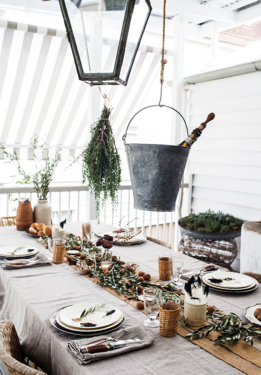 hanging thanksgiving herbs and champagne bucket / sfgirlbybay