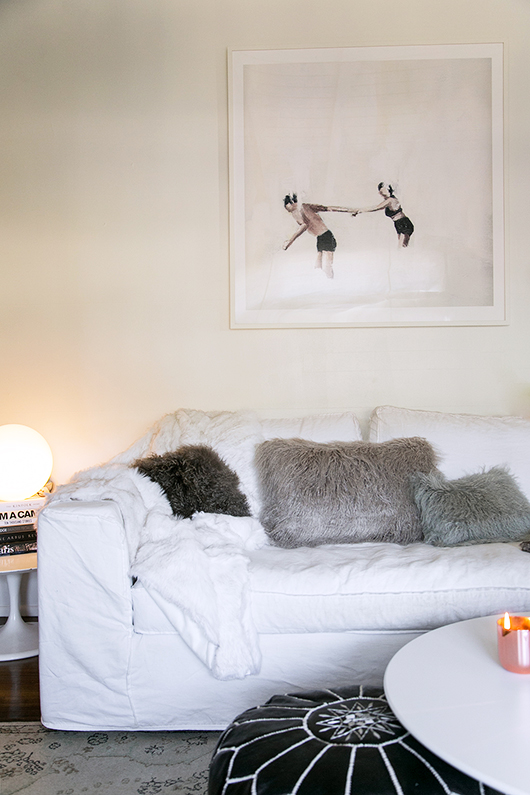 cozy gray faux fur pillows from pier 1 / sfgirlbybay