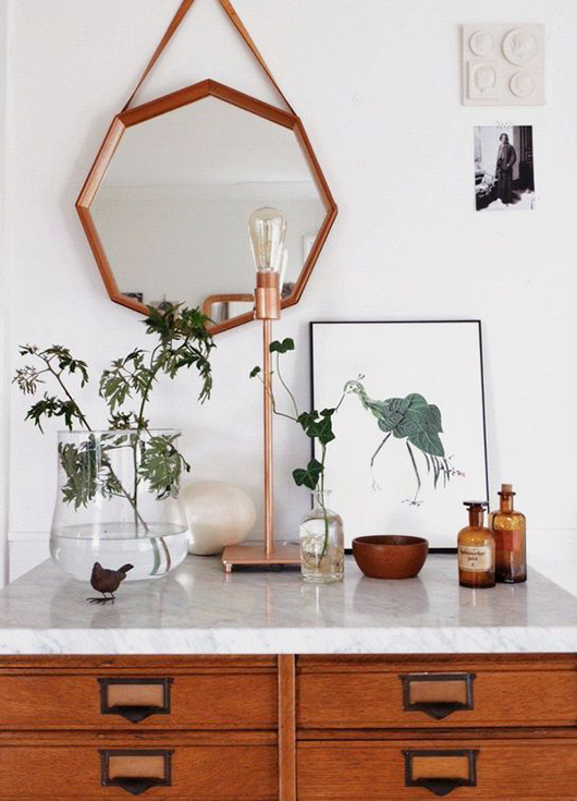 tabletop styled with vintage amber glass bottles / sfgirlbybay