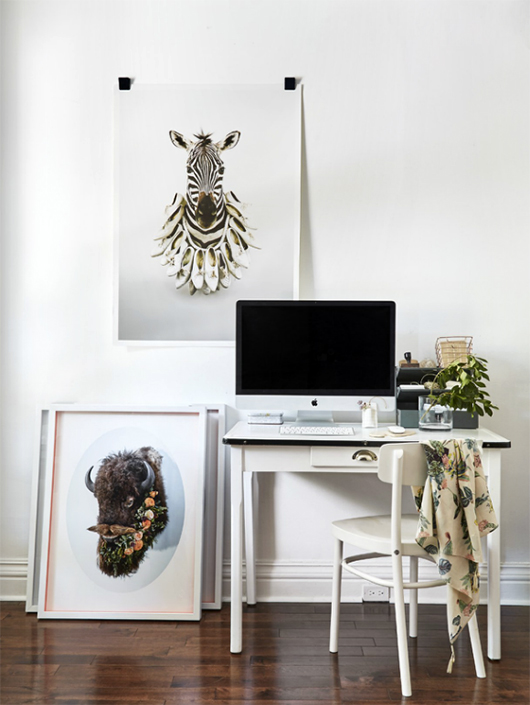 modern white workspace with art and accessories / sfgirlbybay