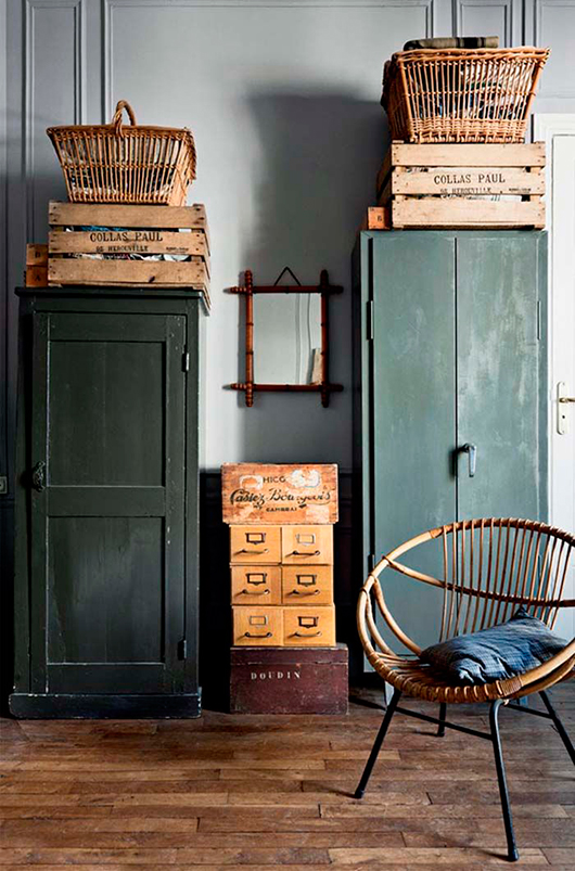 dark green cabinet and woven home furnishings / sfgirlbybay