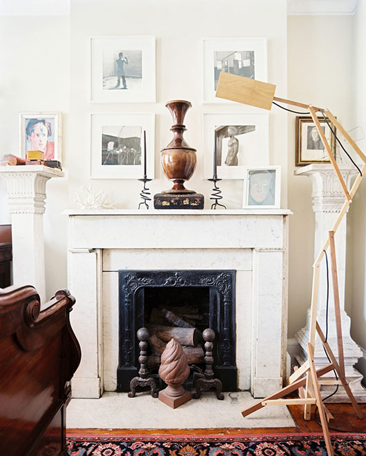 white marble fireplace and collectibles / sfgirlbybay