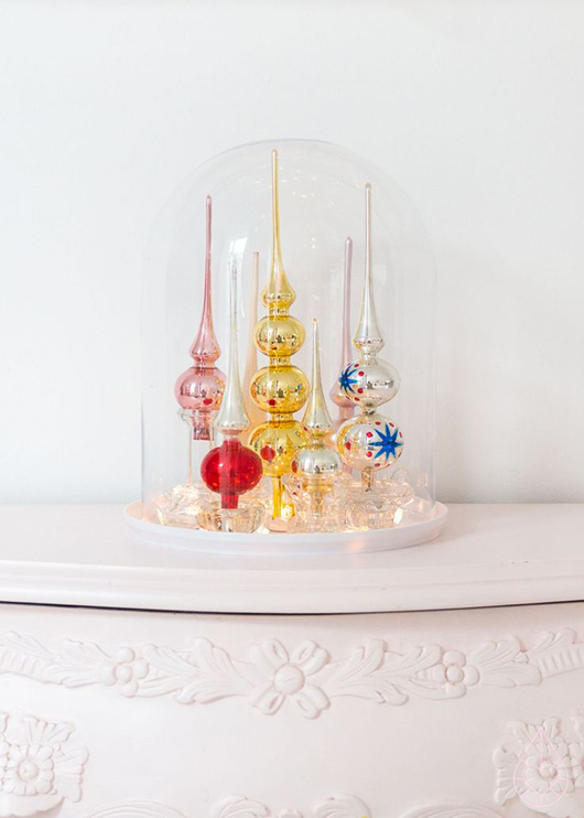 bell jar filled with colorful vintage ornaments / sfgirlbybay