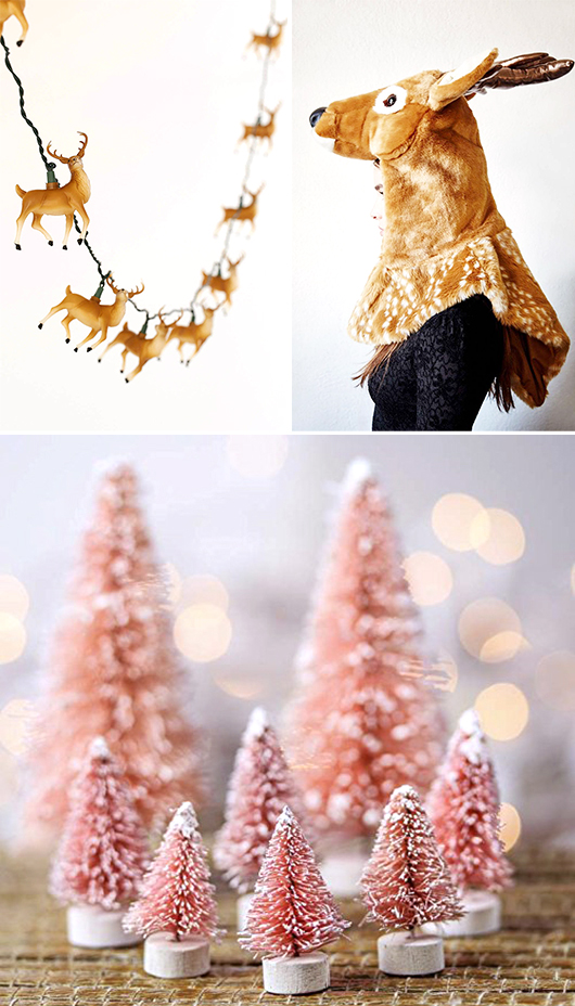 reindeer lights and hooded costume with pink bottle brush christmas trees / sfgirlbybay