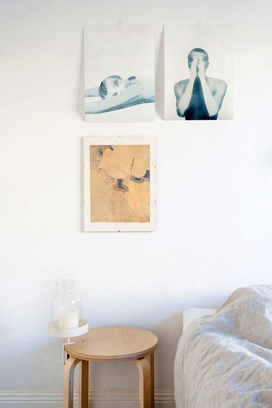 art prints hung on white wall / sfgirlbybay