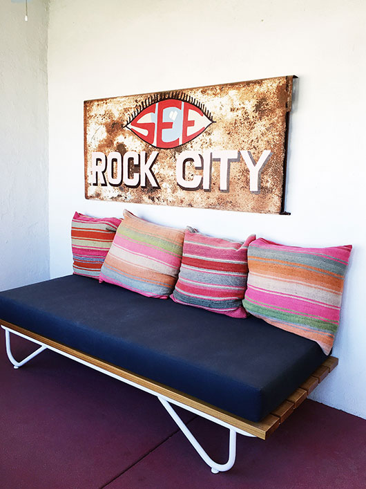striped pillows and bench in the Rock City House at Corte del Norte / sfgirlbybay
