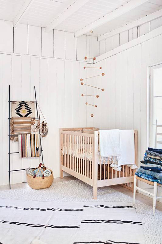 painted white shiplap walls in nursery. / sfgirlbybay