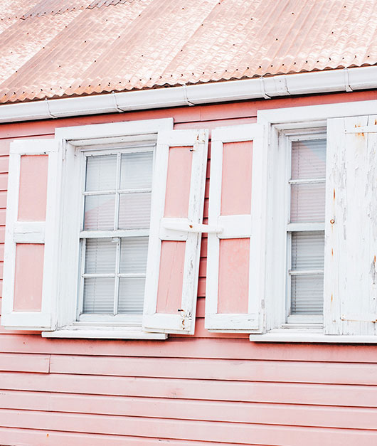pink shutters and siding with white trim / sfgirlbybay
