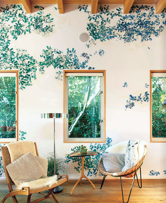 wall paint and art in shades of green / sfgirlbybay