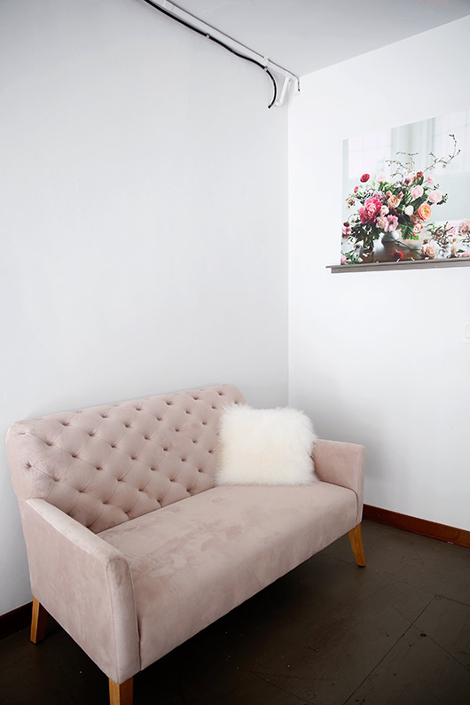 pale pink sofa inside tulipina design studio. / sfgirlbybay