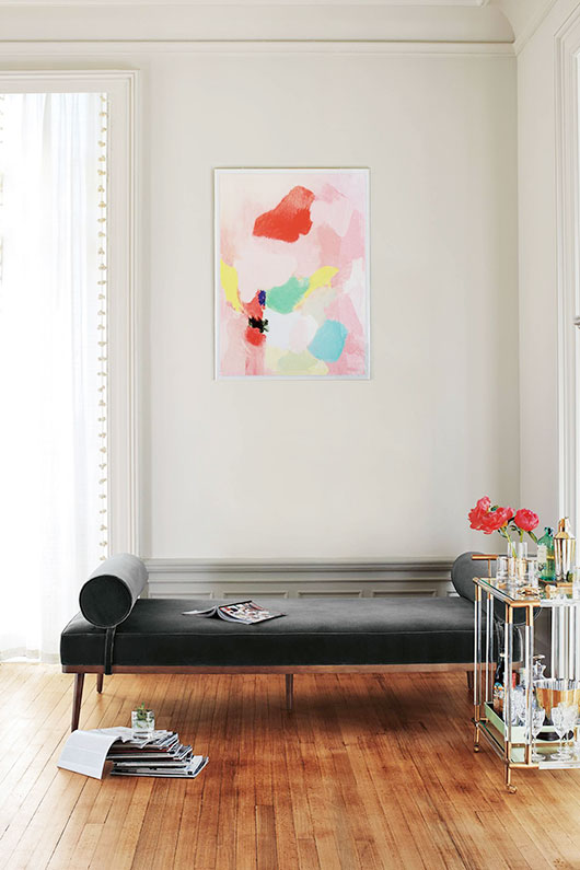 abstract art over sette and lucite bar cart / sfgirlbybay