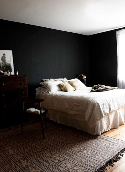black bedroom walls and white bedding / sfgirlbybay