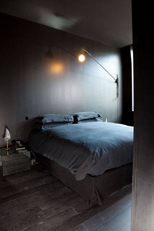 dark gray bedroom walls and dark bedding / sfgirlbybay