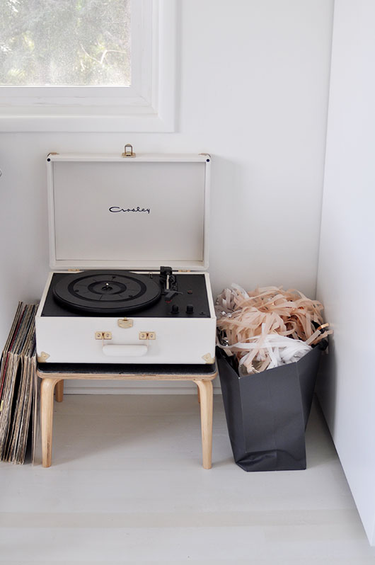 white record player on wood stool / sfgirlbybay
