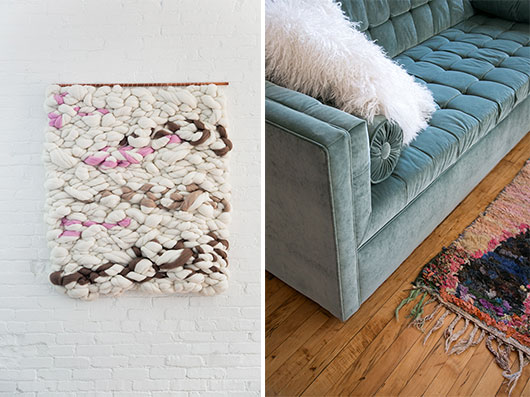 woven wall hanging and teal velvet sofa with faux fur pillow / sfgirlbybay