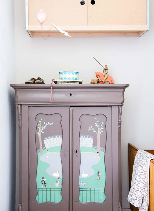 hand-painted cabinet in saar manche's townhouse featured in vtwonen / sfgirlbybay