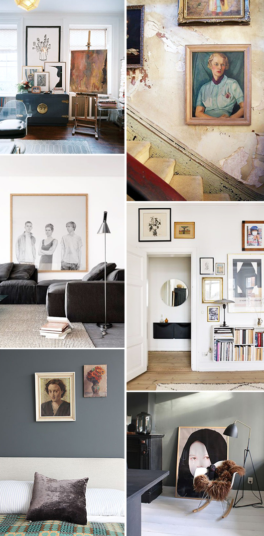 homes with framed art collections on display / sfgirlbybay