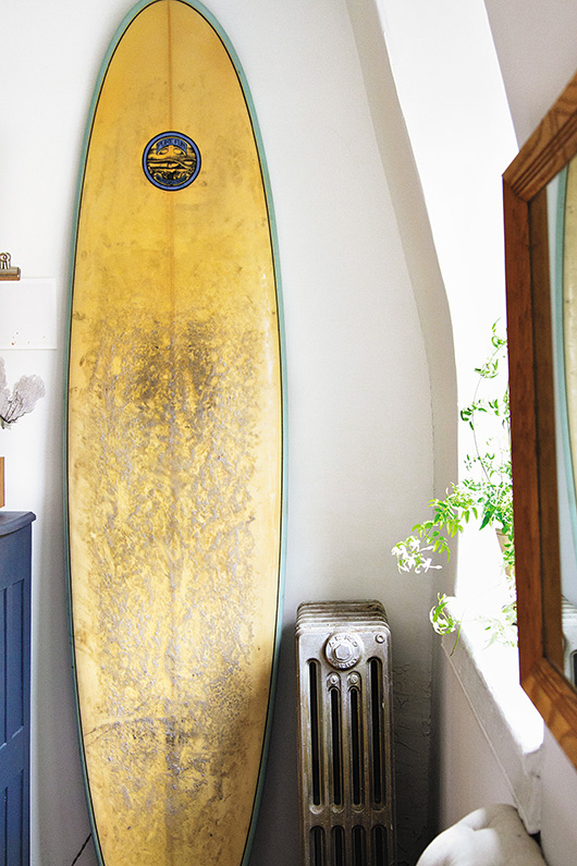 surfboard and old radiator featured in Simple Matters / sfgirlbybay