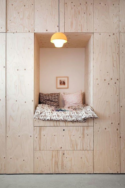 plywood nook by Tas-ka via Bloesem. / sfgirlbybay
