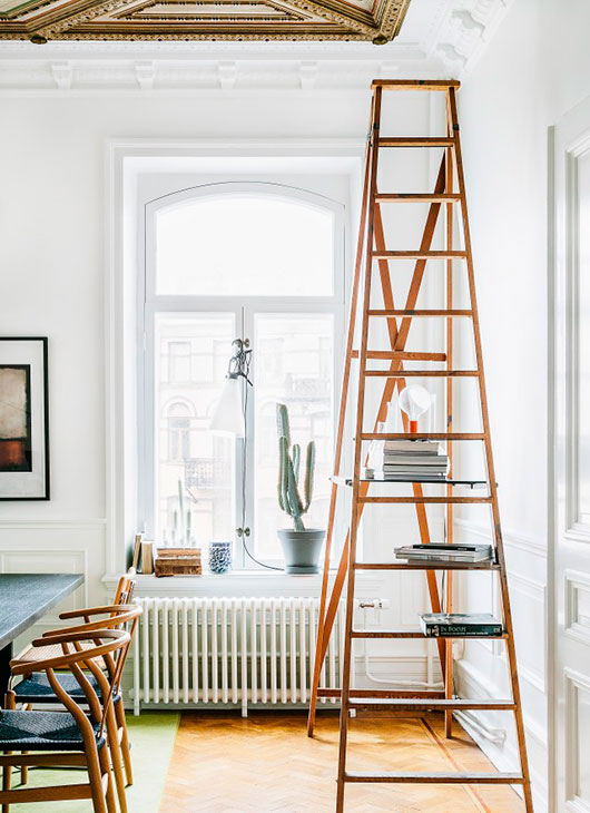 ladder with decorative knick knacks in swedish apartment / sfgirlbybay
