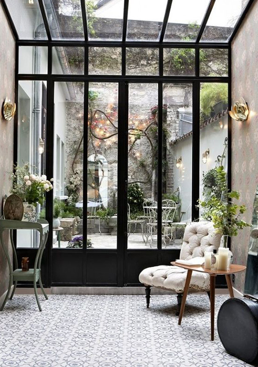 black steel windows and french door frames at hotel henriette in paris. / sfgirlbybay