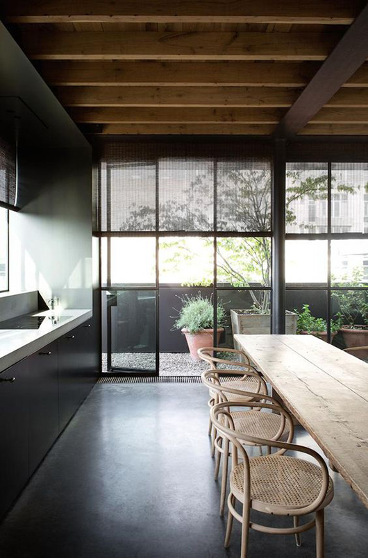 black steel frame kitchen windows / sfgirlbybay