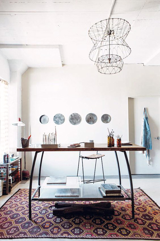 a fantastic fixture and desk from emily quinton's maker spaces book, via french by design. / sfgirlbybay