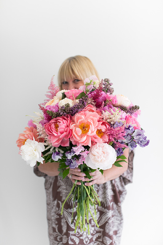 putting together Flower Muse mother's day bouquets / sfgirlbybay