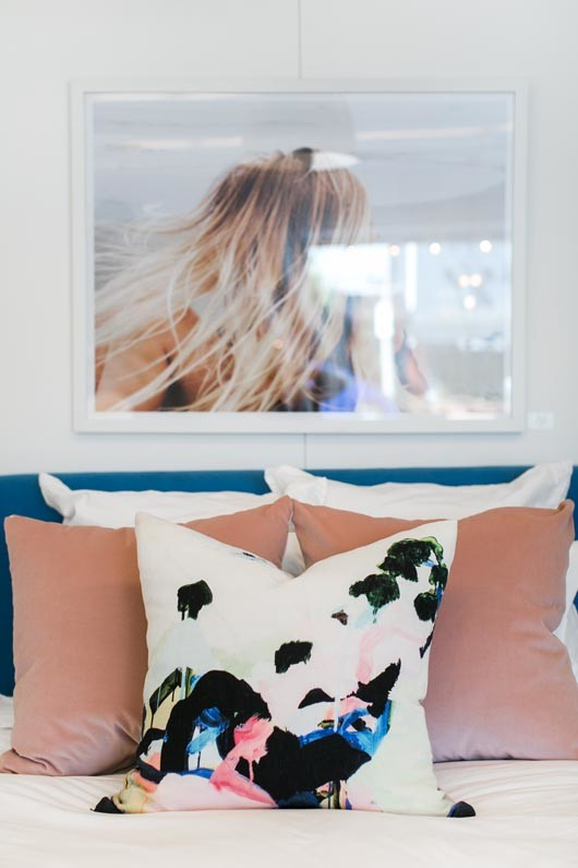 beachy framed photo and colorful throw pillows at Consort in L.A. / sfgirlbybay