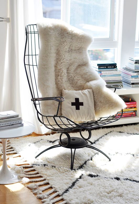 my very own vintage metal homecrest chair with faux fur throw / sfgirlbybay