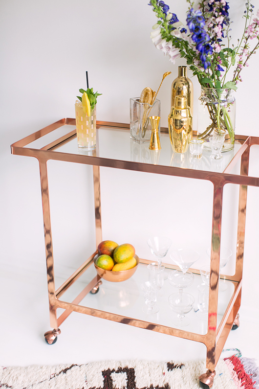 dolce vita rose gold CB2 bar cart wth cocktails and floral arrangement / sfgirlbyaby