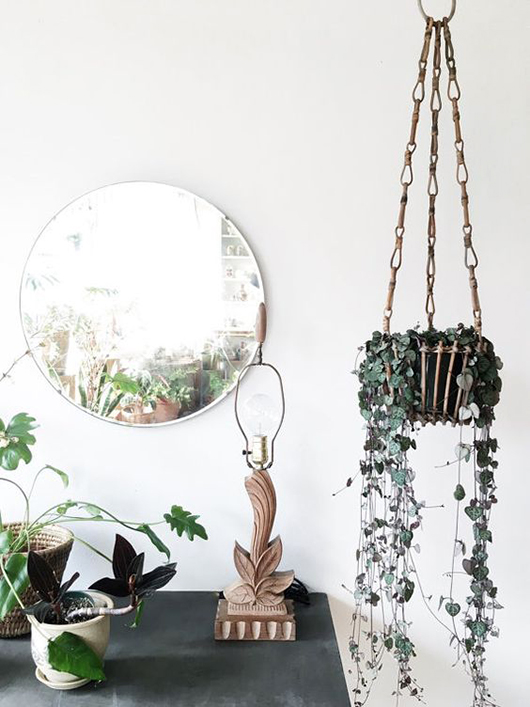 hanging plants and circular mirror via ethanollie. / sfgirlbybay