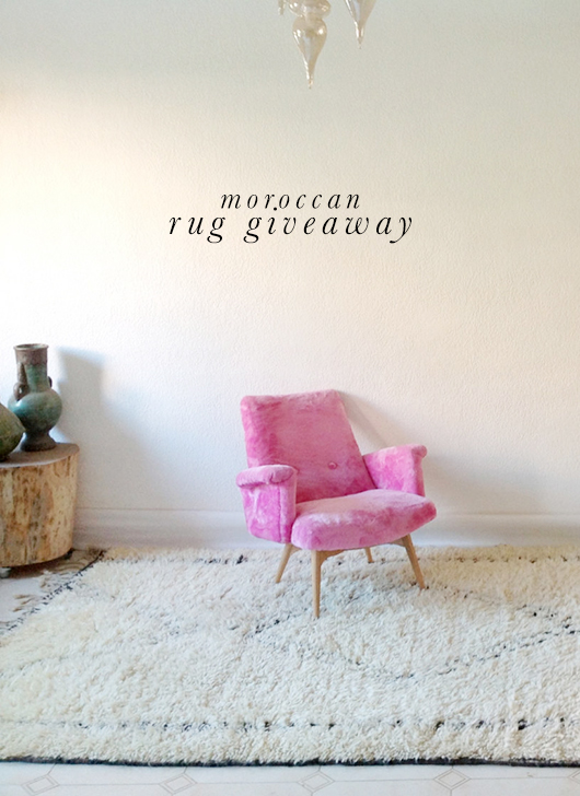 The Sunny Side & Co. moroccan rug with pink chair / sfgirlbybay