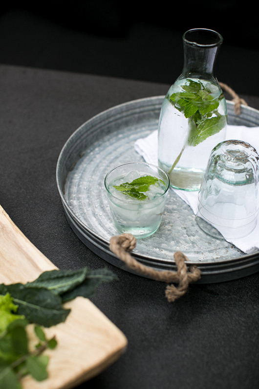 glass carafe and glasses from target filled with spa water / sfgirlbybay