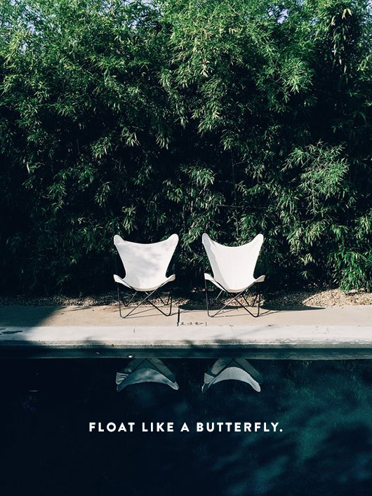 white butterfly chairs poolside at hotel san josé. / sfgirlbybay
