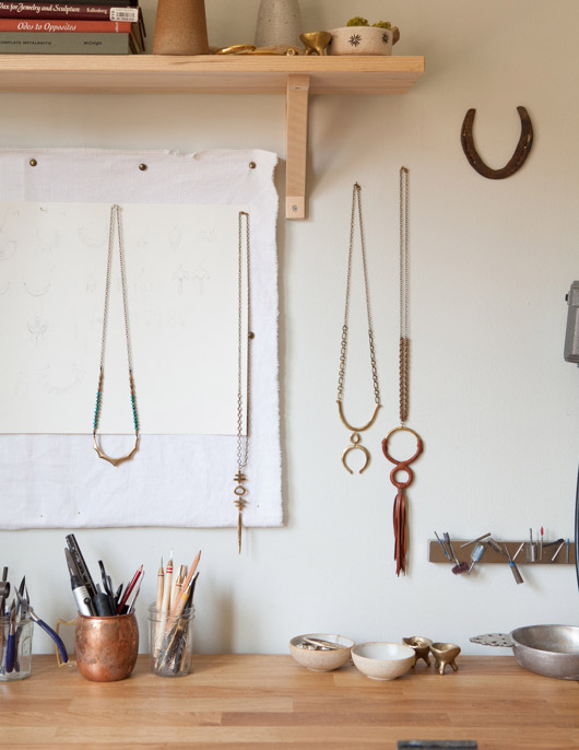 handmade jewelry designed by arisa Haskell on display in her oakland home / sfgirlbybay