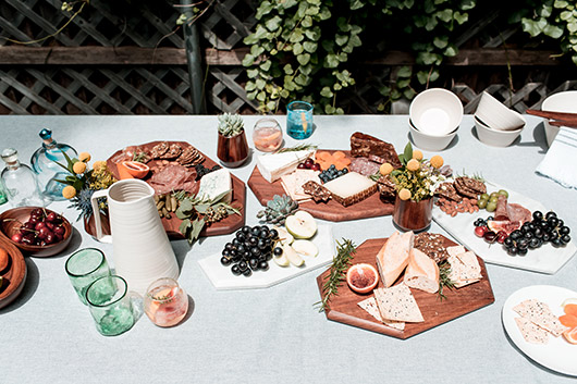 The Citizenry summer table decor with glassware, ceramics and serving platters / sfgirlbybay